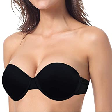 df80f8df27fda YBCG Strapless Padded Push up Underwire Convertible Demi Bra with Clear  Straps Backless for Dance Wedding