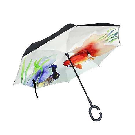 6ff1b6f77e940 YUMOING Double Layer Inverted China Wind Illustration Goldfish Umbrellas  Reverse Folding Umbrella Windproof Uv Protection Big