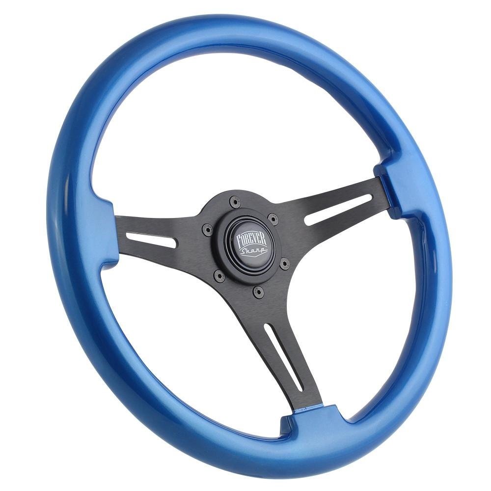 350mm Brushed Black Steering Wheel with Blue Wood Grip and Forever Sharp Horn Button