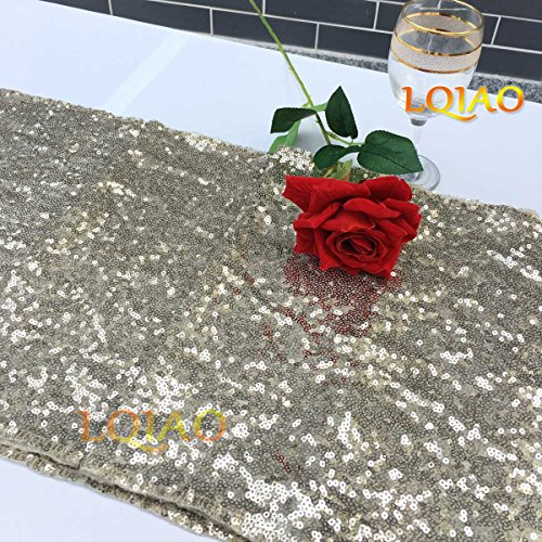 LQIAO Christmas Table Runner Sequin 12x108-in, Light Gold, Shiny Fabric Birthday/Wedding/Party Decoration(wholesale Possible), Pack of 20 PCS by LQIAO