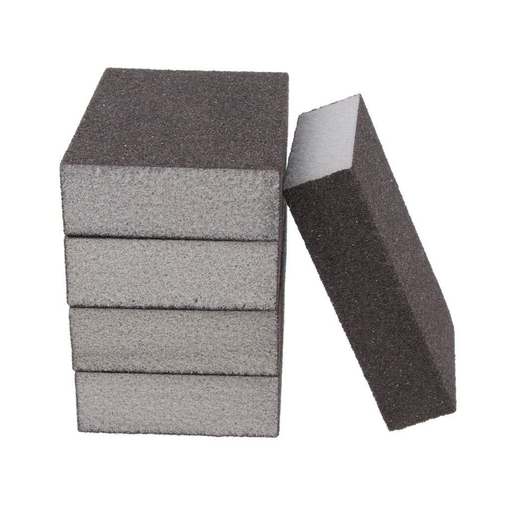 grano 60-600 1 reutilizable 5 unidades de esponja de lija fina para madera de pl/ástico de metal 60-80 extra fine color gris AOD