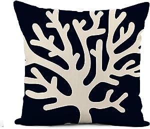 rouihot Linen Throw Pillow Cover Beach Nautical Coral Reef Sea Fan Navy Blue 16x16 Inch Home Decor Pillowcase Square Pillow Case Cushion Cover for Sofa Bed