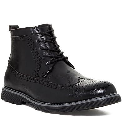Giraldi Kash Mens Fashion Vegan Leather Longwing Boots, Black, Size 8.5, US