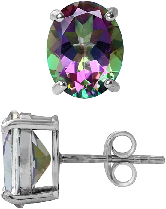 Ladies Natural Mystic Topaz Octagon Cut Stud Earrings Multi-color 7x5mm solid 925 Sterling Silver Butterfly Backings Great Gift