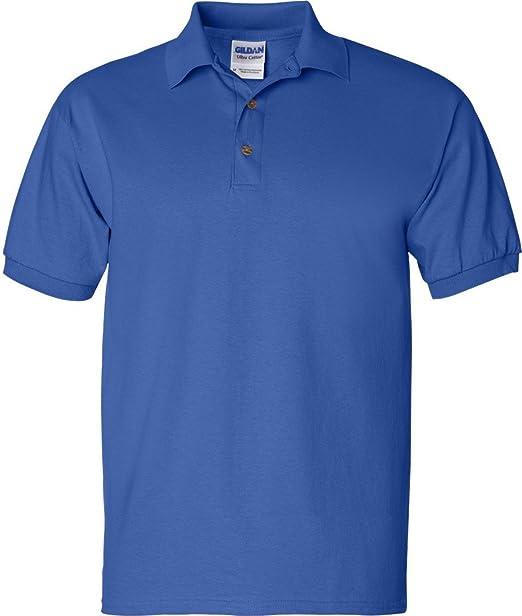 Gildan - Sudadera double-needle Jersey Polo camiseta deportiva de manga larga - Azul - : Amazon.es: Ropa y accesorios