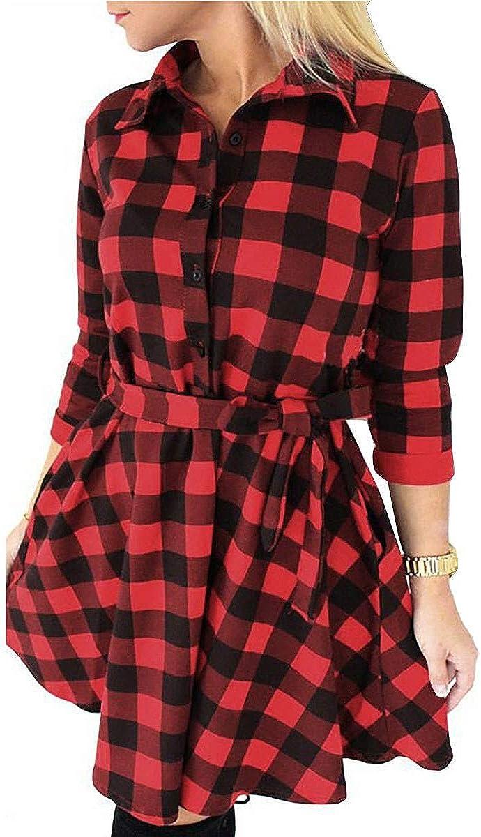 FANCYINN Women Long Sleeve Plaid Pattern Tunic Tops Shirt Casual Dress at  Women's Clothing store