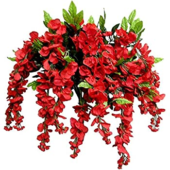 Artificial Wisteria Long Hanging Bush Flowers - 15 Stems For Home, Wedding, Restaurant and Office Decoration Arrangement, Red