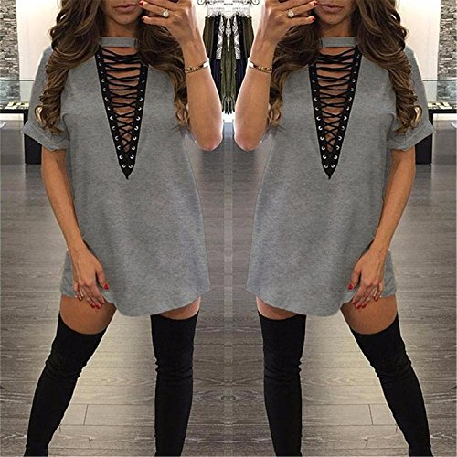 New Fashion Sexy Bandage Shirt Sexy Women Deep V Neck Top Women Tops Short Sleeve Hollow Out Nightclub Women Cotton T Shirt Gray S ()