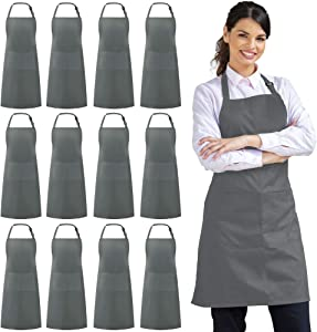 Syntus 12 Pack Adjustable Bib Apron Waterdrop Resistant with 2 Pockets Cooking Kitchen Aprons for Women Men Chef, Grey