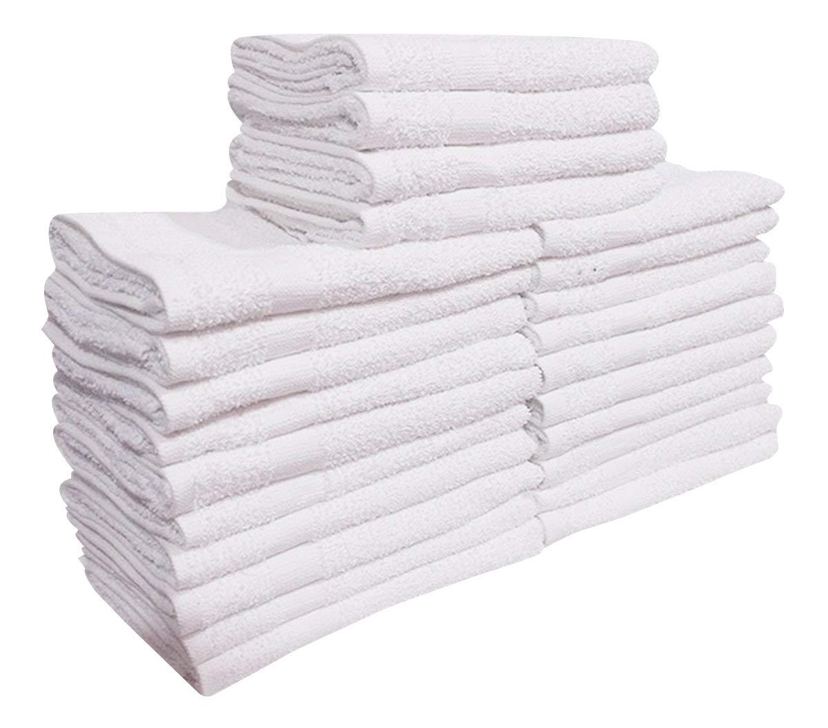 GOLD TEXTILES (5 Dozen) 60 Pcs New White (16''X27'') 100% Cotton Salon-Towels Gym-Towel Hand-Towel