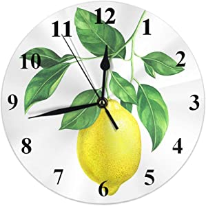 Moslion Wall Clock Summer Lemon Watercolor Fresh Fruits Tree Green Leaves Branch Farm Food Round Wall Clock Home Decor Wall Clock for Holiday Birthday Retirement Gift