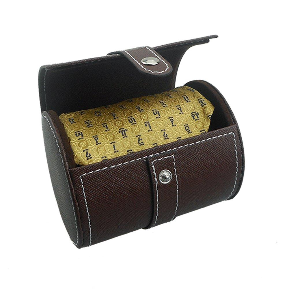Tie Case Necktie Storage Travel PU Leather Bow Tie Packaging Gift Box Fosinz (Brown)
