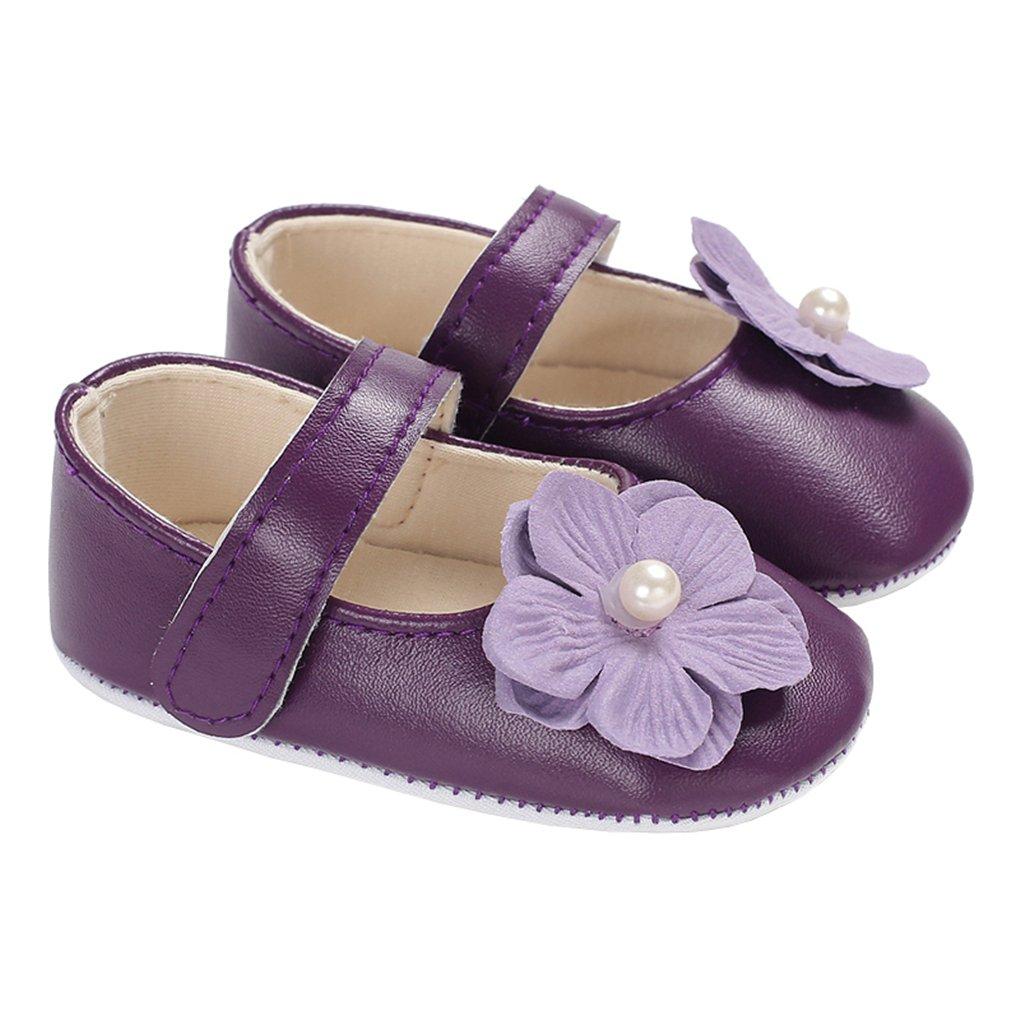 Baby Girl Pearl Flowers Mary Jane Flats Princess Dress Shoes Soft Sole Crib Shoe Purple Size M