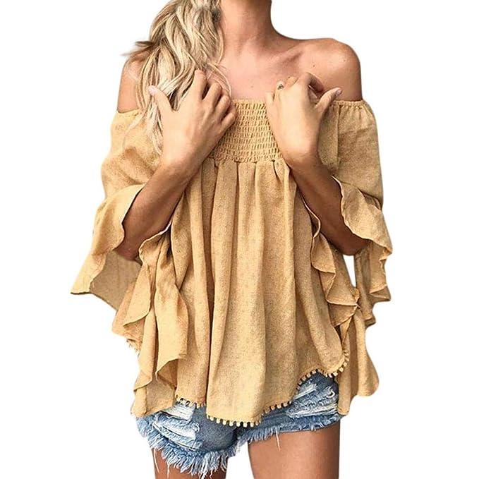 Blusa Hombre Yesmile Camiseta Las señoras de Las señoras Atractivas de Las Hojas Que Imprimen la