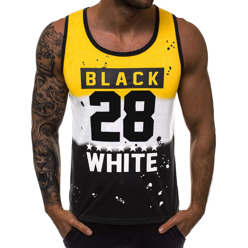 Forthery Men'S Letter Printed Deep Round Collar Tank Top Slim Fit Athletic Tee Shirt Workout Fitness Vest(Yellow,US Size XL = Tag 2XL)