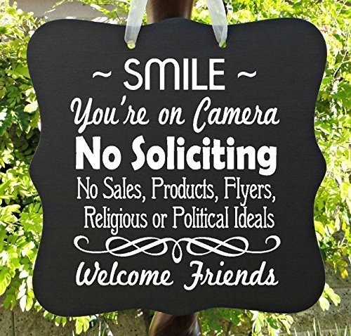 No Soliciting Sign, Smile, Camera, Video, Surveillance, Front Door Sign,