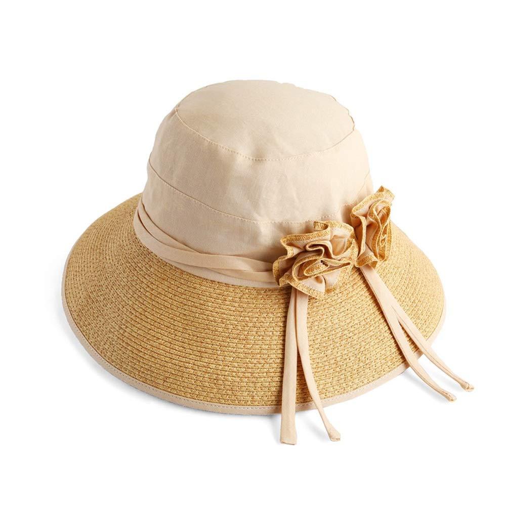 3 Hat  Women's Summer Sun Visor Foldable UV Sun Hat Outdoor Travel Wide Beach Hat Rattan Straw Hat (3 colors) (color    2)
