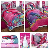 Trolls Girls Complete Bedding Comforter Set with Window Curtain Panels - Twin