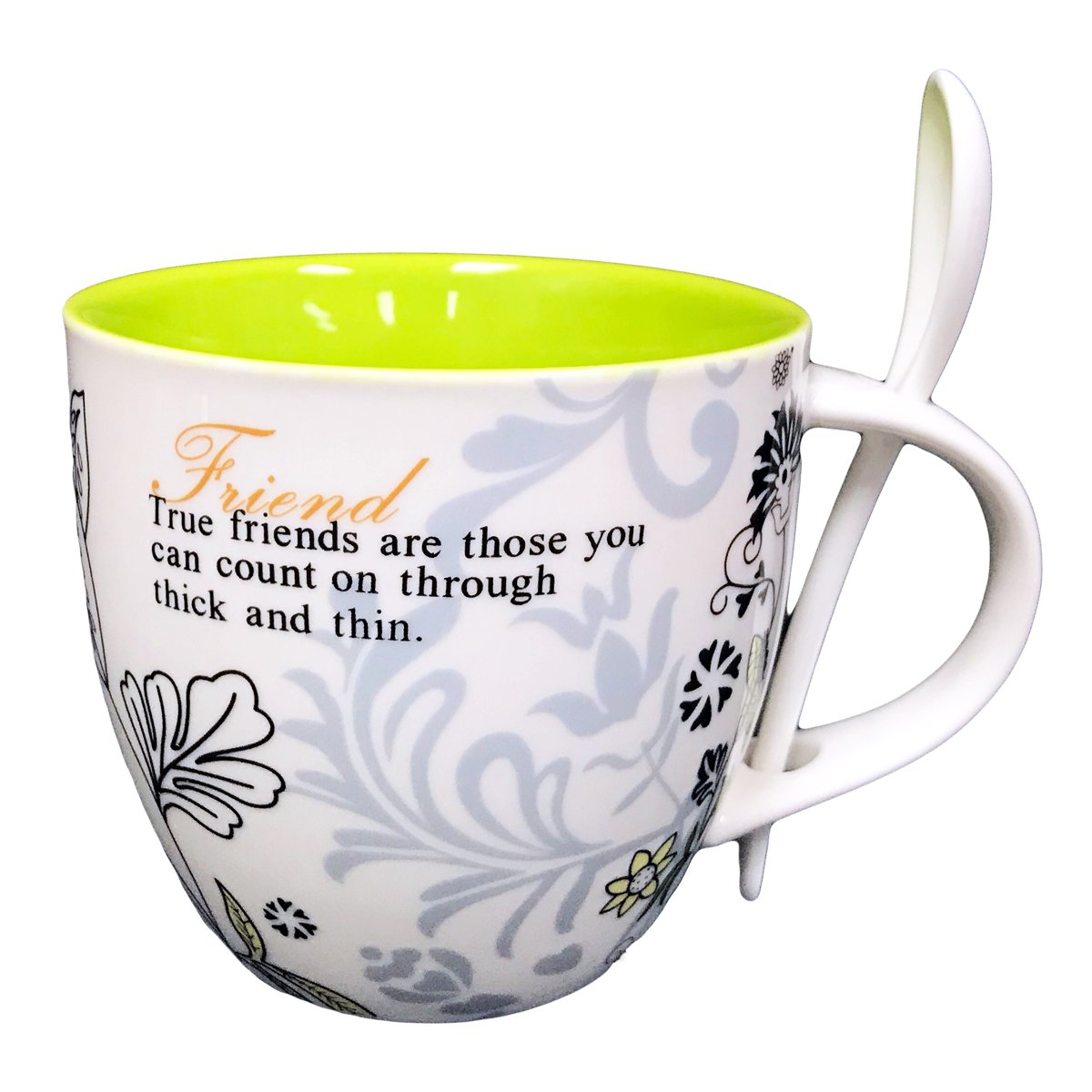 Hampstead Collection Friend Mug with Spoon (450ML) Gift Box Packaging Homestead Heath
