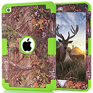 S-Smile Hybrid Shockproof Drop Resistance Protective Case for Ipad Mini 1 / Ipad Mini 2 / Ipad Mini 3 + 1 Screen Protector and Pcs S-Smile Stylus (Forest Green)