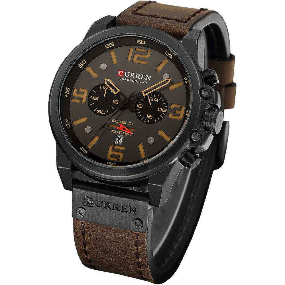 Men Sport Chronograph Quartz Watch Brown Leather Strap Date 30M Waterproof Military Male Wrist Watch