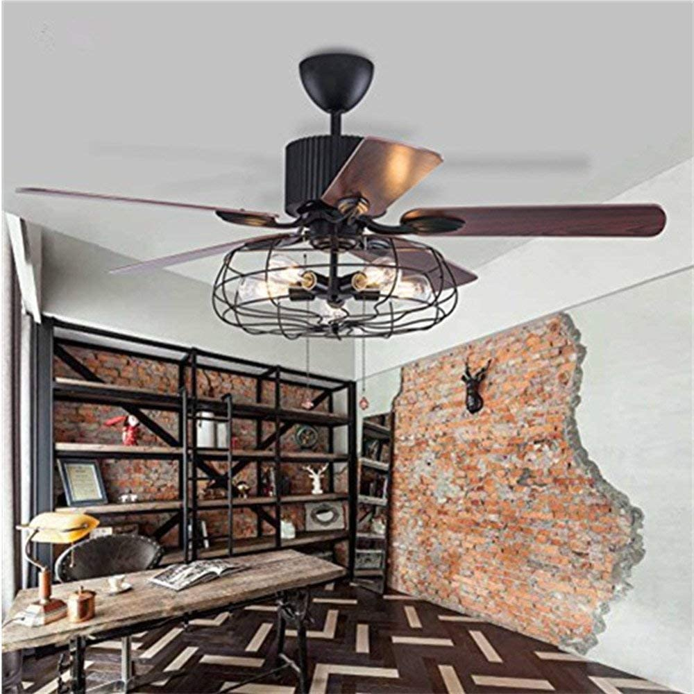 Ventilador eléctrico retro americano, ventilador de techo vintage con luces lámpara industrial candelabro lámpara de control remoto reversible sujeción de iluminación para sala de estar, dormitorio