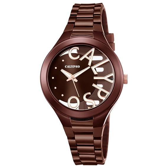 Calypso mujer-reloj analógico PU-pulsera Marrón Fashion cuarzo-reloj esfera marrón UK5678/3: Calypso: Amazon.es: Relojes
