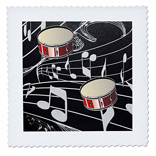 3dRose qs_38199_4 Red Drums on Music Notes-Quilt Square, 12 by 12-Inch (Note Drum)