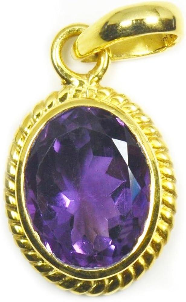 placcato oro Ciondolo con ametista ovale naturale 6 carati Jewelryonclick