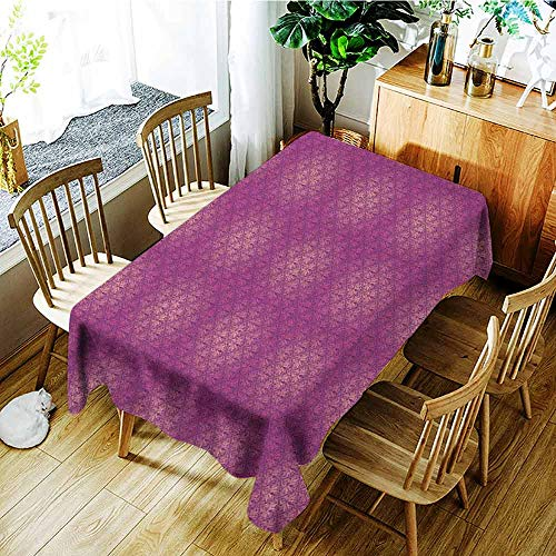 XXANS Fashions Rectangular Table Cloth,Victorian,Antique Style Scroll Motifs Flowers Pink Shades Classical Pattern,Modern Minimalist,W52x70L Magenta Peach and Purple