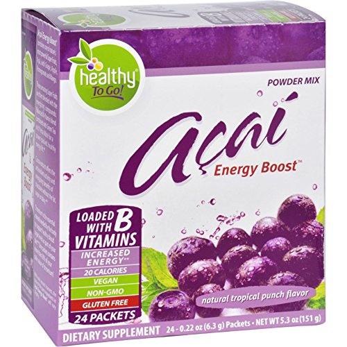To Go Brands Acai Natural Energy Boost Powder - 24 Packets - Gluten Free - Loaded with B Vitamins - Vegan