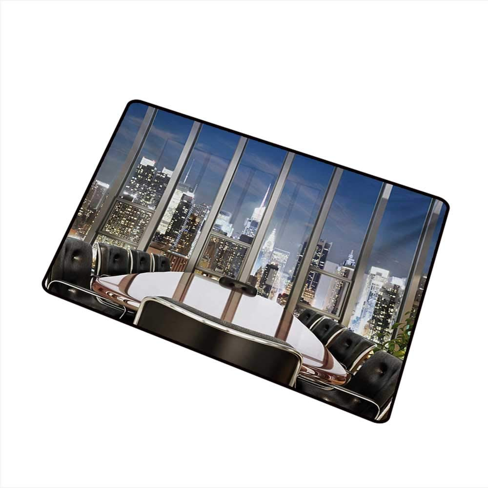 Axbkl Front Door Mat Large Outdoor Indoor Modern Business Office Conference Room Table Chairs City View at Dusk Realistic Photo W30 xL39 All Season General