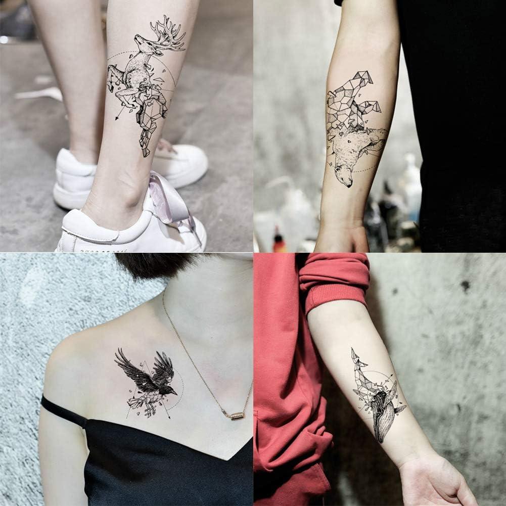 Juego de 4 tatuajes de tinta para animales, impermeables, tatuajes ...