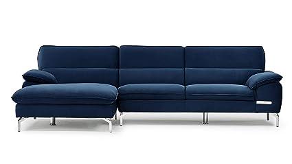 Amazon.com: Zuri Furniture Sapphire Blue Sectional Set with ...