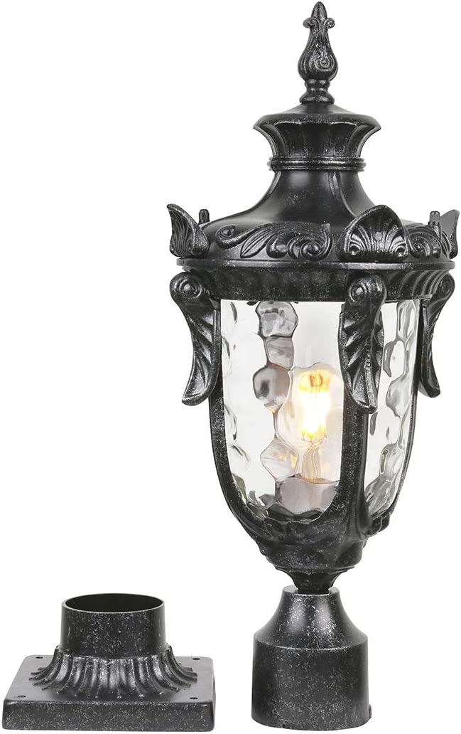 "Goalplus Outdoor Post Lamp with Pier Mount for Yard 1-Light 60W E26 Post Light Fixture 21"" High Vintage Post Lantern in Dark Stone Finish with Hammered Glass, IP 44 Waterproof, LM2003-M"