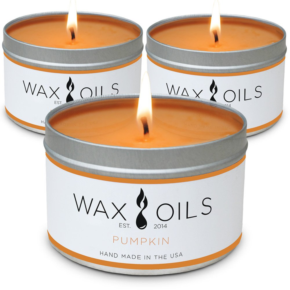Wax and Oils Soy Wax Aromatherapy Scented Candles, Pumpkin, 8 oz (Pack of 3)