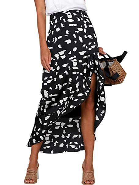 7ff0e037d Simplee Women's Boho Printed A Line Ruffle Asymmetrical Hem Wrapped Long  Skirt (Black ...