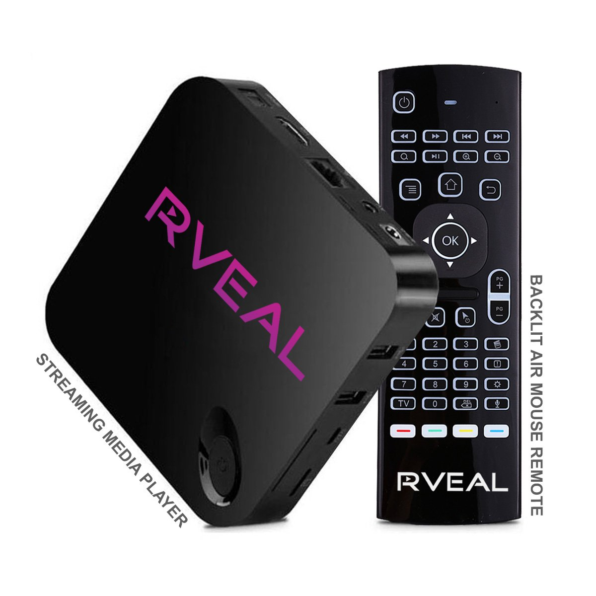 Rveal Streaming Media Player & Backlit Air Mouse Remote (New Model)