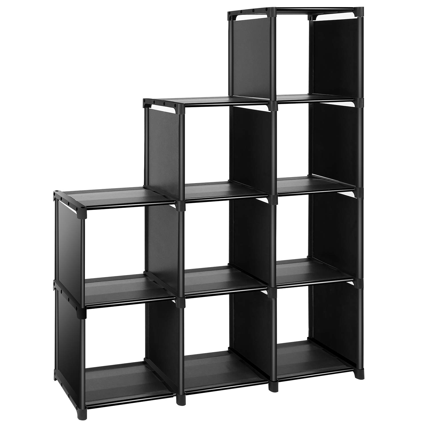 TomCare Cube Storage 9-Cube Closet Organizer Cube Organizer Storage Shelves Bookcase Bookshelf Clothes Cabinets Storage Cubes Bins Cubbies Shelving for Bedroom Living Room Office, Black