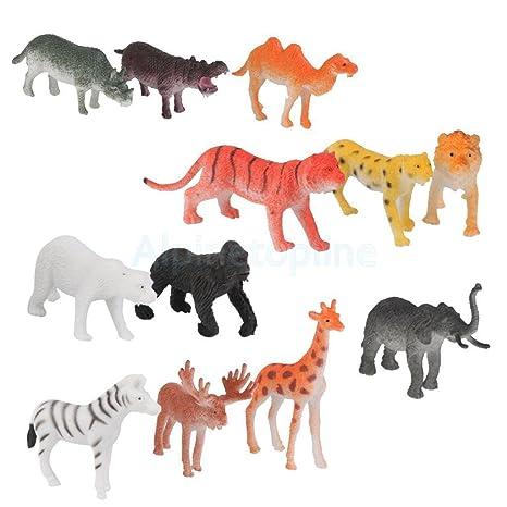 Amazon Com 12 Plastic Zoo Figure Jungle Wild Animals Children Toys