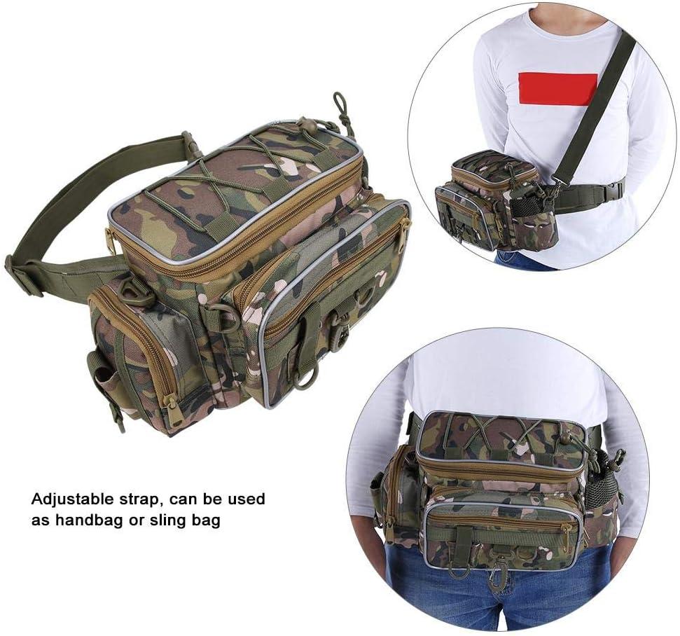 Tragbare Nylon Camouflage Verstellbarer G/ürtel Angelpack K/öder Haken Aufbewahrungstasche VGEBY1 Angeltasche