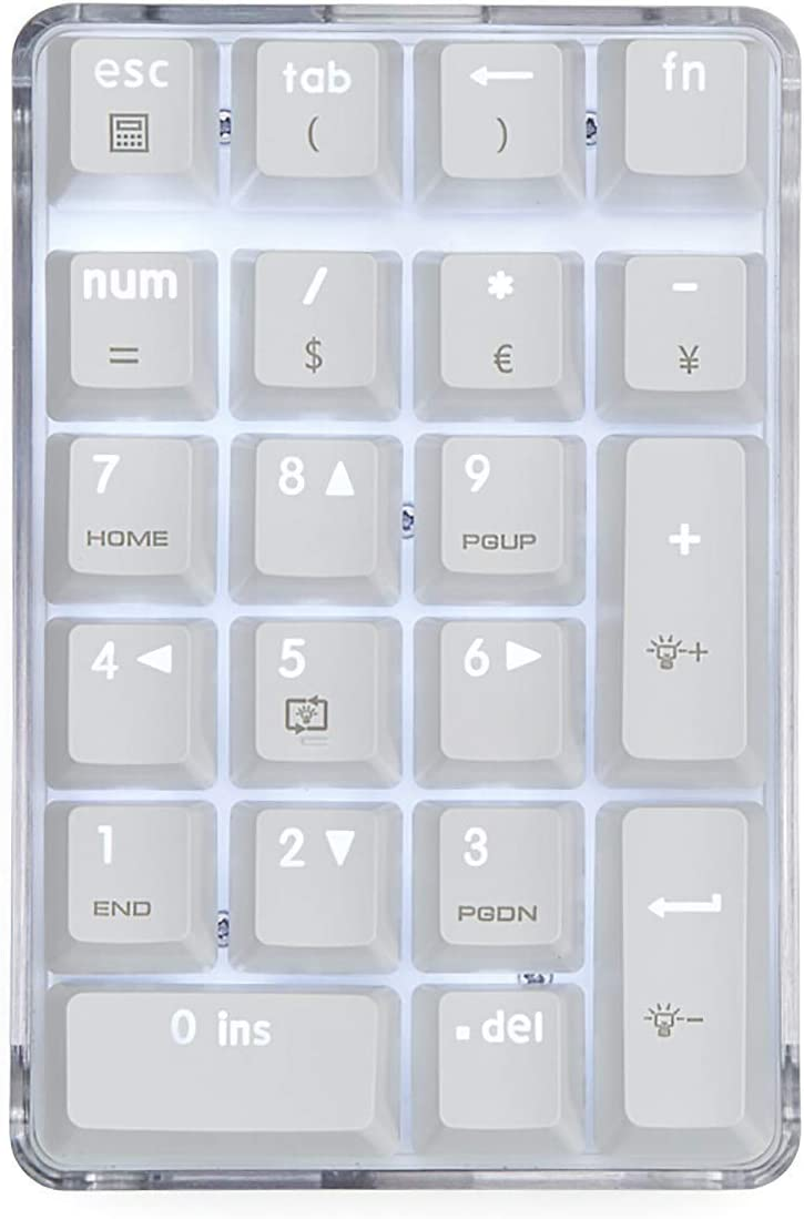 MQUPIN Number Pad, Mechanical USB Wired Numeric Keypad with White Backlit 21-Key Numpad for Laptop Desktop Computer PC (Brown Switch)
