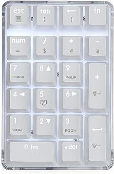 MQUPIN Teclado numérico mecánico con cable USB con teclado numérico con retroiluminación blanca de 21 teclas para ordenador portátil, computadora de ...
