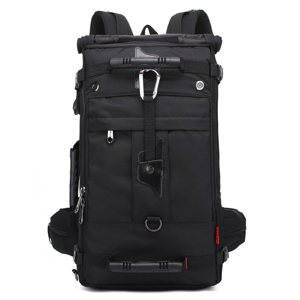 アウトドア旅行メンズバックパック、多機能50l大容量通気性カジュアルスポーツバッグ登山リュックサック、ウェア防水ダブル肩ナップサック(ブラック) B07951RVJH