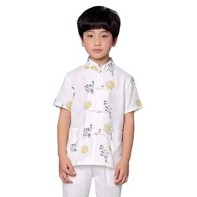 ACVIP Boy Breathable Short Sleeve Top Tang Suit Tai Chi Kung Fu Jackets Shirt