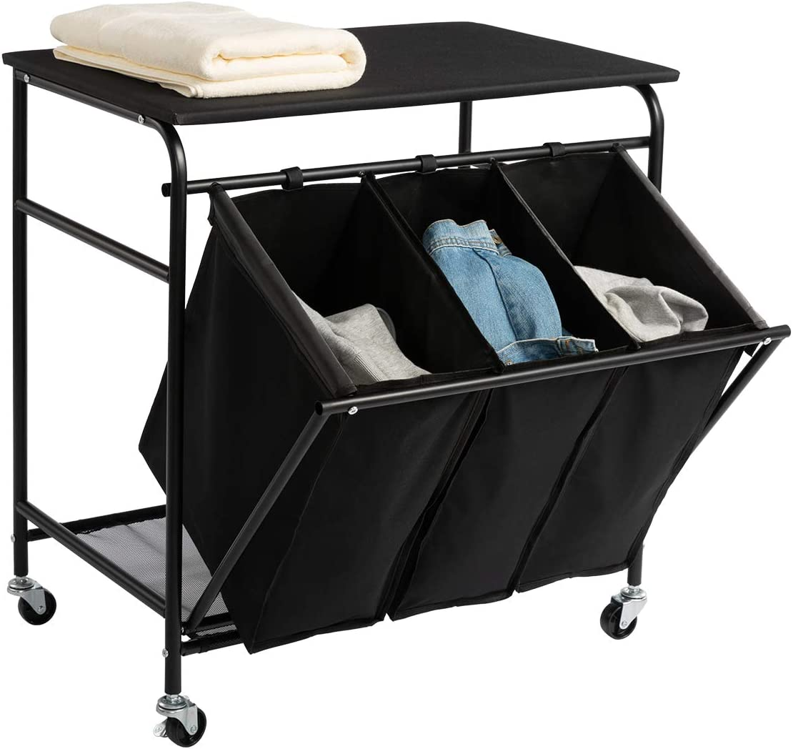 Marble Field Laundry Sorter Cart Heavy Duty 3 Bags Classic Rolling Side Pull Ironing Board Laundry Hamper Sorter with 4 Wheels Black