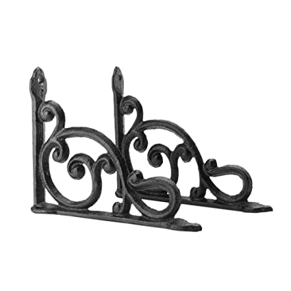 2 Cast Iron Antique Style HD Brackets Garden Braces RUSTIC Shelf Bracket