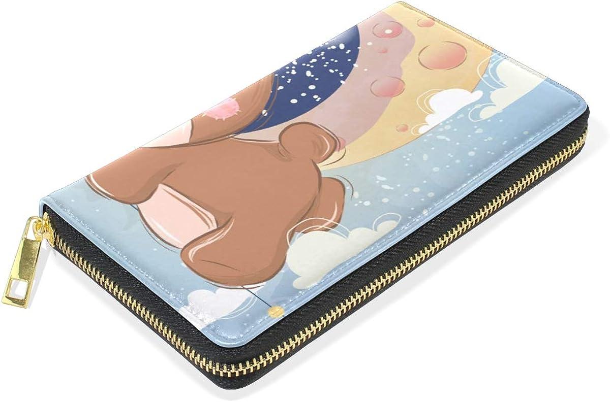 Star Moon Baby Bear Wallet for Women Leather Zipper Phone Coin Purse