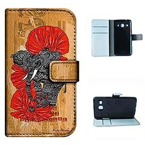 Galaxy Core Plus G3500 Trend 3 G3502 case, SoloShow(R) Samsung Galaxy Core Plus G3500 Trend 3 G3502 case Deluxe High Quality PU Leather Wallet Flip case, Aztec elephants Rainforest floral Pattern (Elephant)