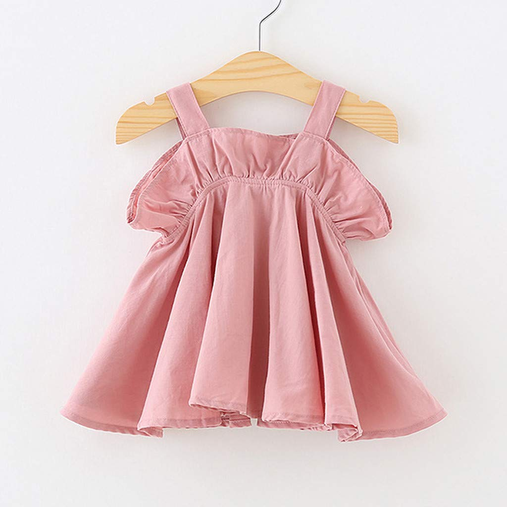 3dde0900216 Amazon.com  Yaseking Summer Toddler Kids Baby Girl Casual Ruffled Solid  Color Off-Shoulder Clothes Princess Party Strap Dress  Clothing